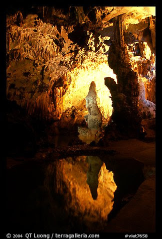 Cave formations reflected in a pond, lower cave, Phong Nha Cave. Vietnam (color)