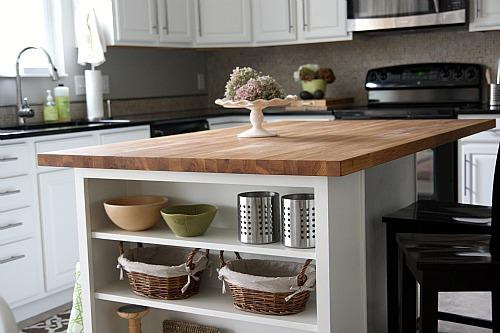 Kitchen Island with Shelves