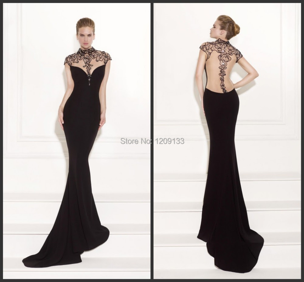 Luxurious elegant black beaded evening dress