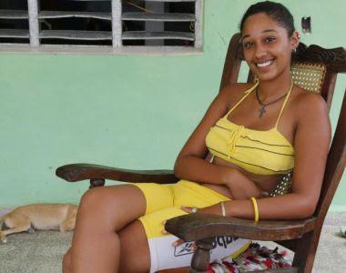 Rihanna fan Rozana Diaz Rojas. Photograph: Desmond Boylan/AP
