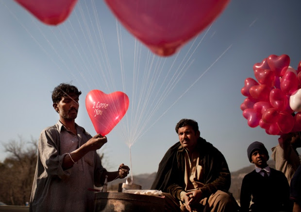 A vendor prepares balloons to sell for Valentine's Day in Islamabad, Pakistan, in February 2012