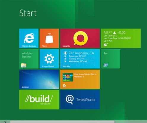 The dynamic desktop of Windows 8. Exciting, right?