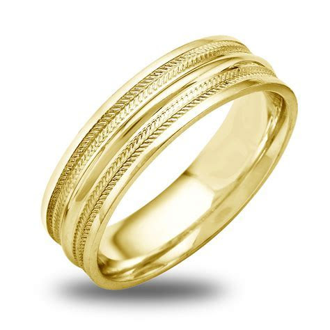 14K 18K White Or Yellow Gold Double Ridged Inlay Mens