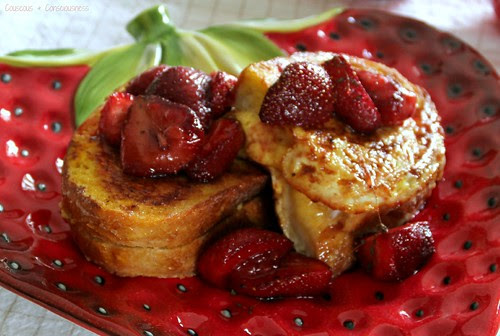 Orange Mango French Toast with Honey Roasted Strawberry Compote 2