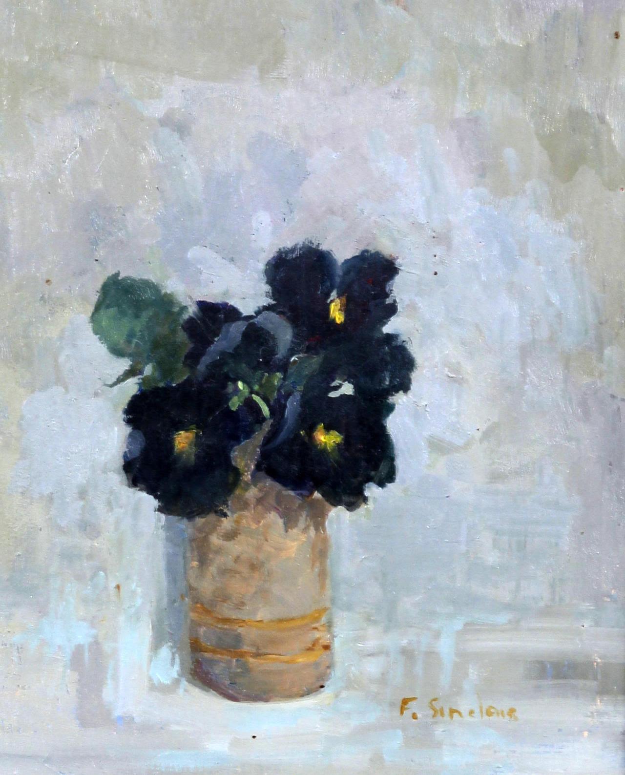 cacaotree:  Frances Sinclair (British, active circa 1980-circa 2000) 'Black Pansies'