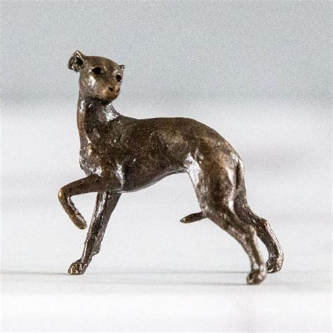 miniature bronze whippet statue by ginger rose