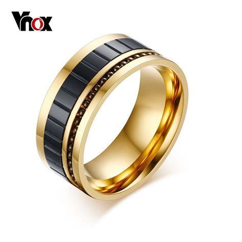 Vnox Men's Ring Gold Color 10MM Wide Fashion Titanium
