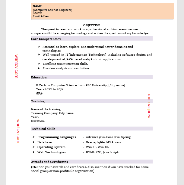 Cv Format Resume For Teaching Job Fresher Best Resume Examples