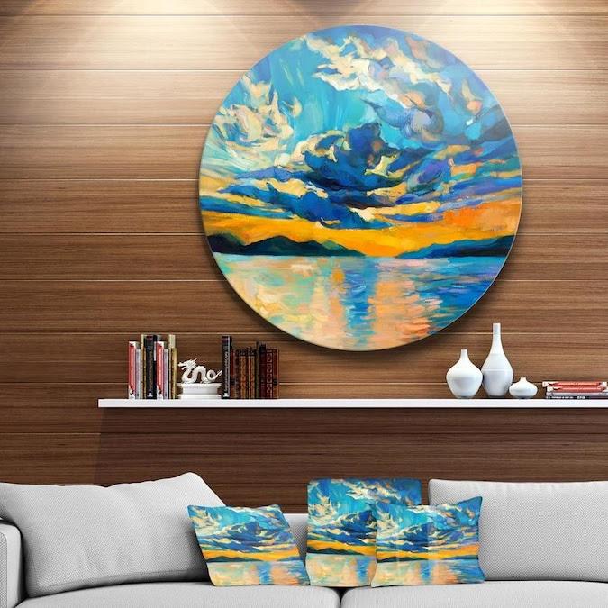 Designart Orange Sunset with Blue Sky' Painting Circle ...