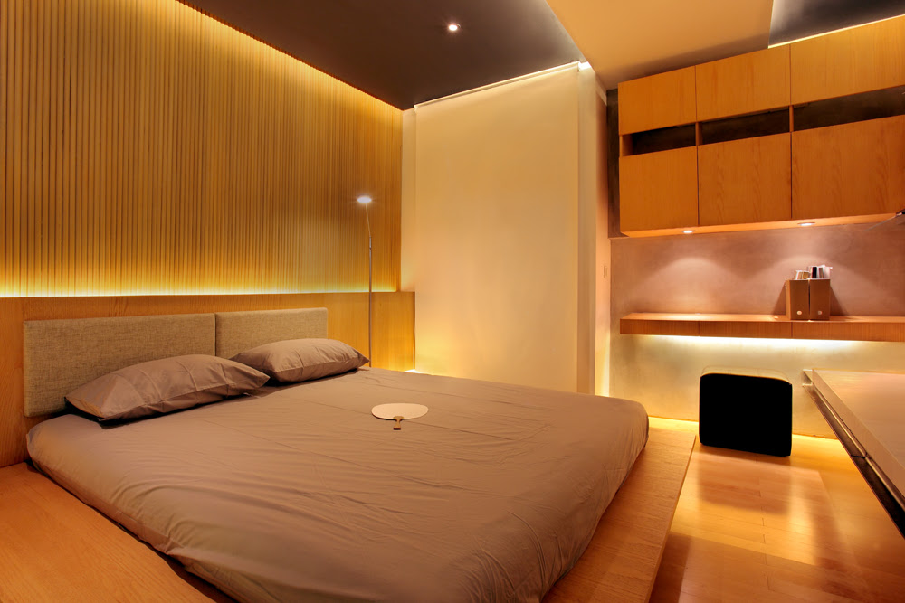 Superb Contemporary Bedroom with Minimalist Bedroom and Modern Lighting Fixture on the Table