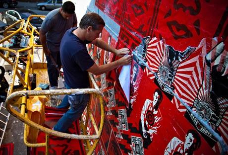 The alleged vandal Shepard Fairey,at work in Copenhagen