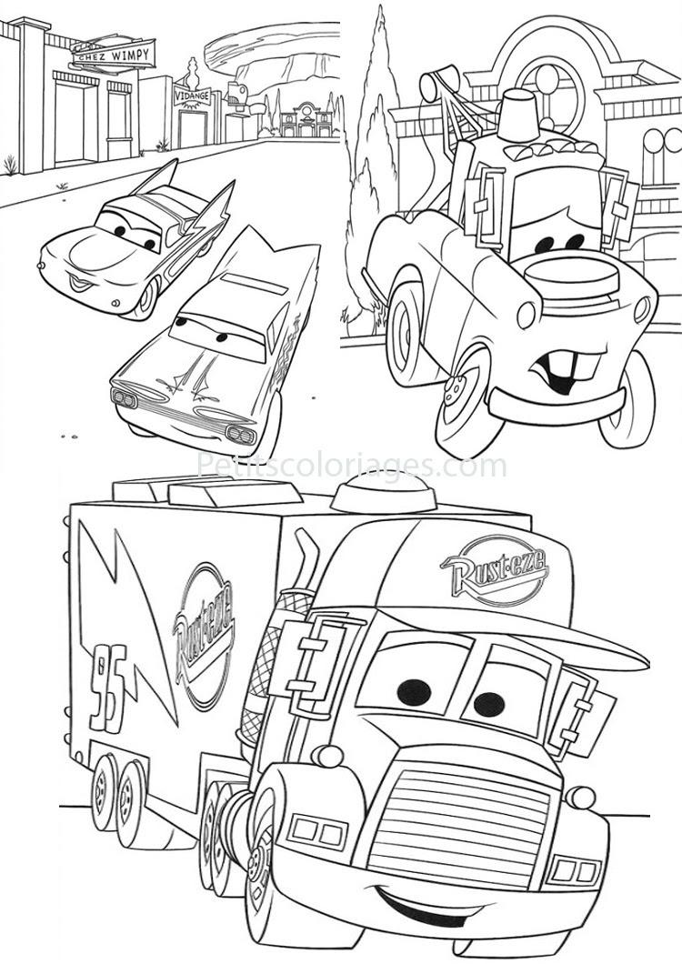 Petits coloriages cars mack camion flo martin