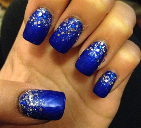 Royal blue with silver sparkle/glitter prom nails 2k14