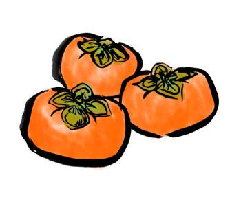 秋の果物の柿かき墨絵手描きイラスト