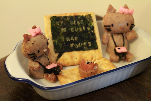 My Blog Is Cuter Than Yours - Hello Kitty Food Bloggers Sculpture Made of Sausages