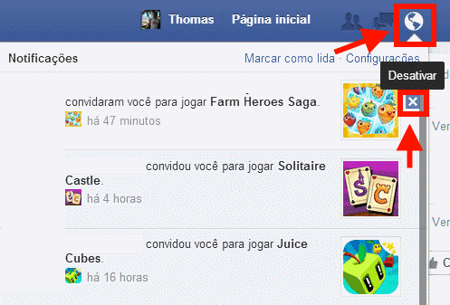 Notificações do Facebook- desativar