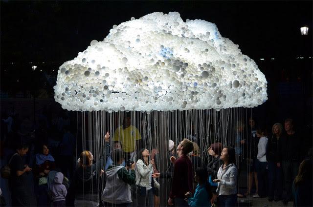 An Interactive Cloud Made of 6,000 Light Bulbs multiples lighting light installation clouds