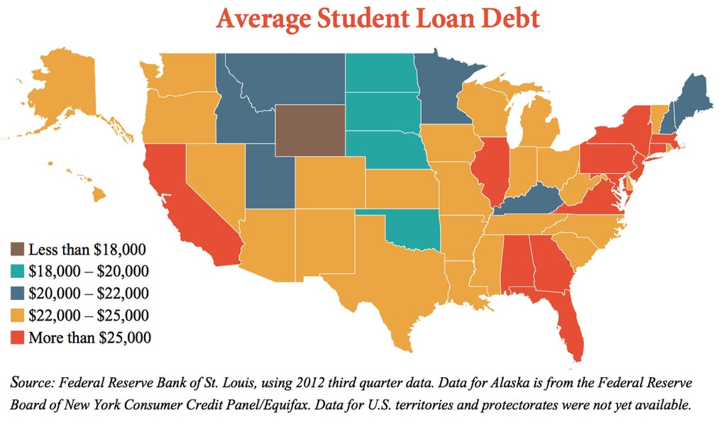 US States Map Of Average Student Loan Debt