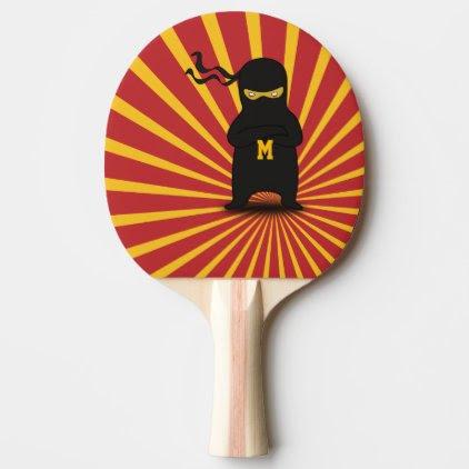 Monogram. Kawaii Cute Ninja for Nerd Geek. Ping-Pong Paddle