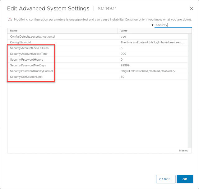 VMware ESXi Passphrase and Account Lockout Configuration