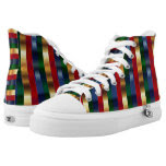 Faux Colorful Metallic Stripe Patterns Printed Shoes