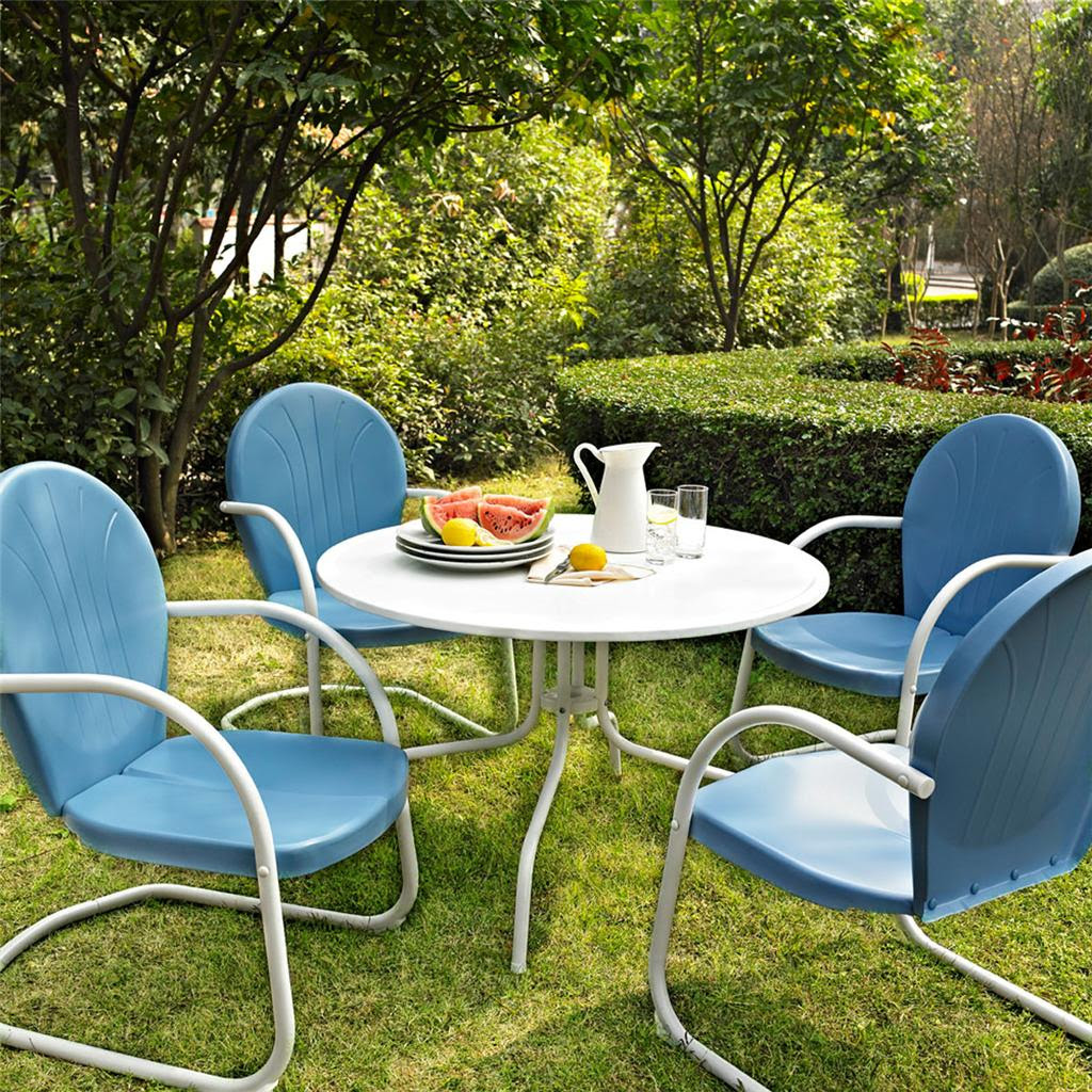 Blue White OUTDOOR METAL RETRO 5 PIECE DINING TABLE ...