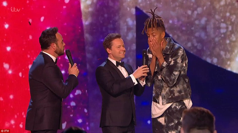 Unbelievable!Visibly shocked, the 32-year-old musician gushed: 'I can't believe it!' as Ant and Dec made the announcement in front of the supportive crowd