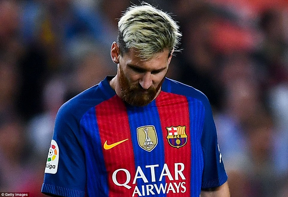 Star man Messi was able to walk from the field and then sat on the bench but couldn't take any further part in the game