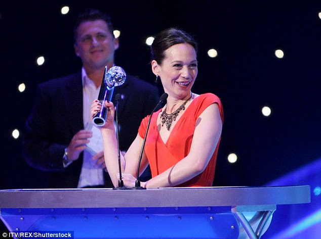 Leah Bracknell speaking at the British Soap Awards; donations have been made to her GoFundMe site