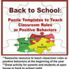 First Week of School:  Puzzle Activity to Teach Classroom Rules