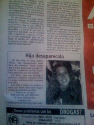 Busca Ashley Flores em um jornal de Honduras!