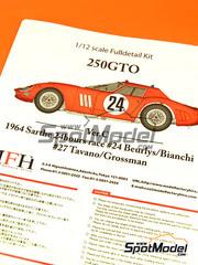 Maqueta de coche 1/12 Model Factory Hiro - Ferrari 250 GTO  Nº 24, 27 - Beurlys + Bianchi, Tavano + Grossman - 24 Horas de Le Mans 1964 - kit multimaterial