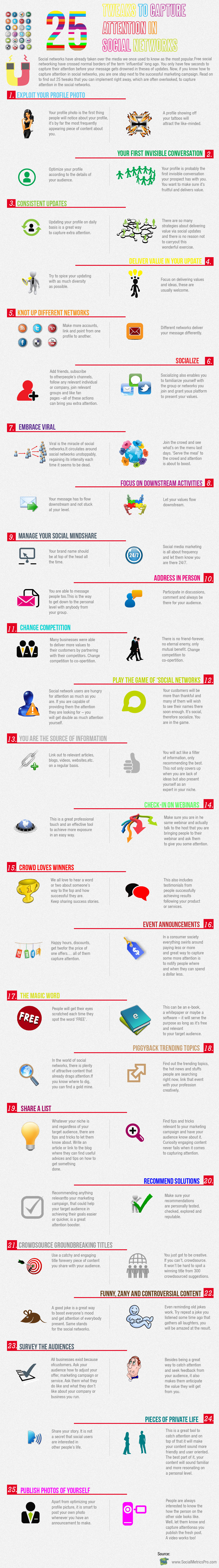 Infographic: 25 Tweaks To Capture Attention In Social Networks