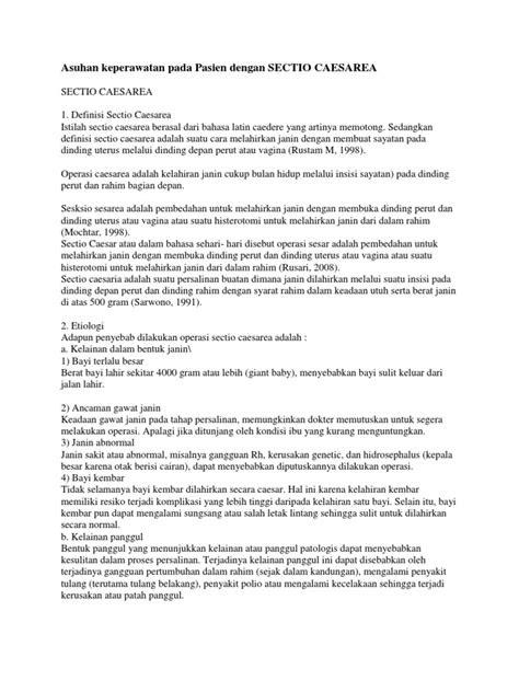 Asuhan Keperawatan Pada Pasien Dengan SECTIO CAESAREA