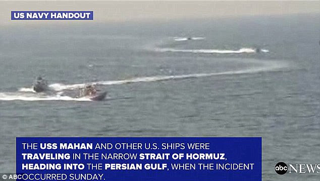 The incident comes after the Mahan was forced to fire warning shots at Iranian ships (pictured) in January this year