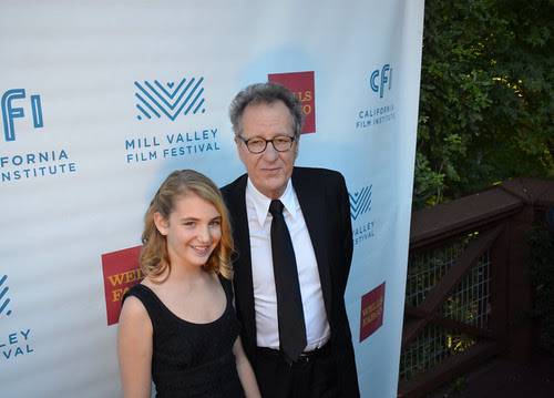 "Stars Geoffrey Rush and Sophie Nélisse of ""The Book Thief"" at the opening reception at the Mill Valley Film Festival"