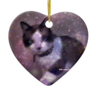 snowshoe kitty in the stars Double-Sided heart ceramic christmas ornament