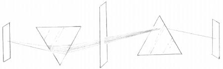La luz descompuesta en el primer prisma se vuelve a reunir para formar un nuevo haz blanco.  (Haz click para ver la imagen a tamaño real)