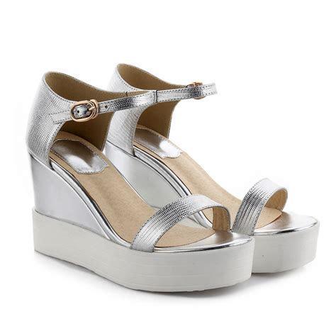 Strappy Silver Platform Heels   Is Heel