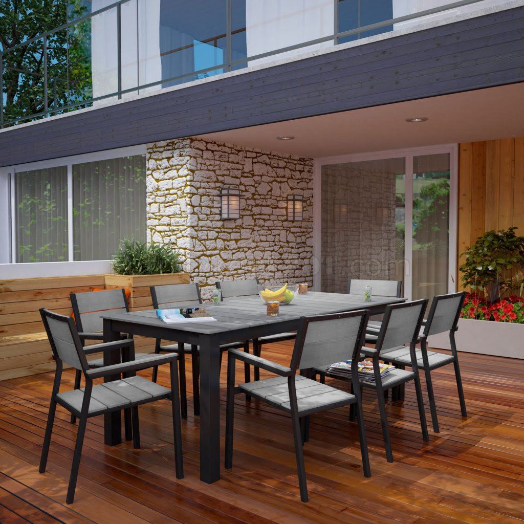 Maine 9 Piece Outdoor Patio Dining Set in Brown & Gray by ...