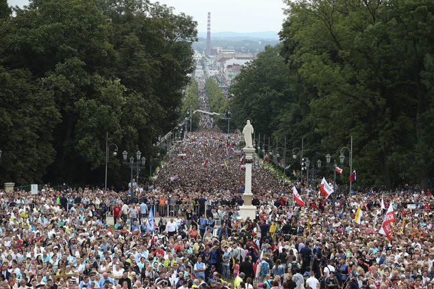 Polish bishops are urging a million Catholics to pray along the nation's 2,000-mile border next week. Pictured: Catholics wait for Pope Francis in Poland last year
