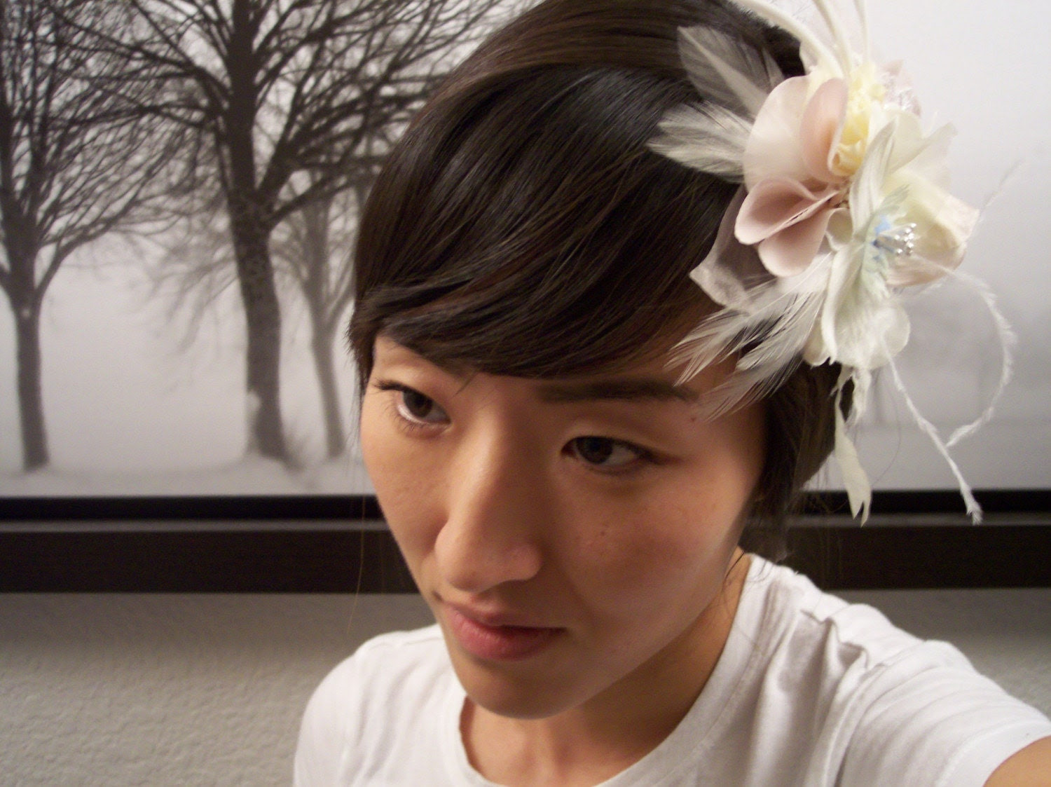 RESERVED for Rookster - Custom Bridal hairpiece - Feather and Flower
