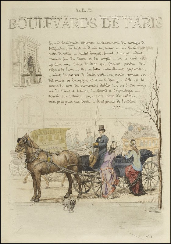 title page etching horse + carriage + text
