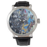 medieval knights jousting on horses historic art wristwatch