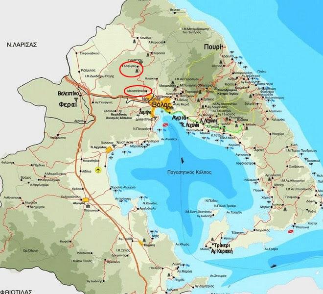 Με κόκκινο κύκλο οι οικισμοί Μελισσάτικα και Γλαφυρές