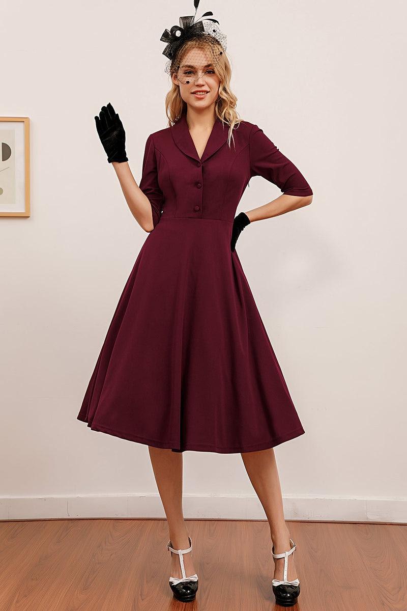 burgundy midi vintage kleid
