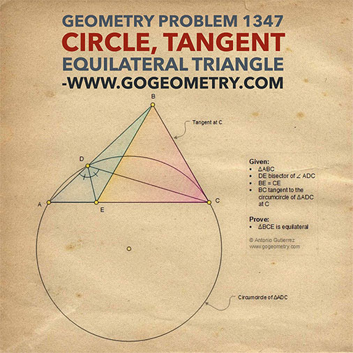Geometric Art of Problem 1347. Circle, Tangent, Equilateral Triangle, iPad Apps, Typography and Sketch.