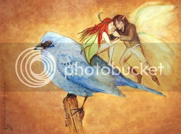moment suspendu fee elfe oiseau elf fairy bird watercolor aquarelle illustration love lovers fantasy