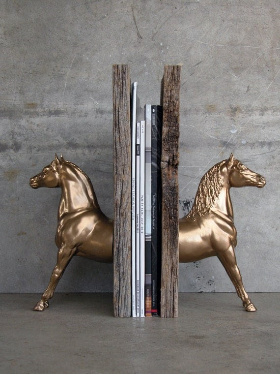 Morgan Sculpture Horse Bookend, Gold Tone