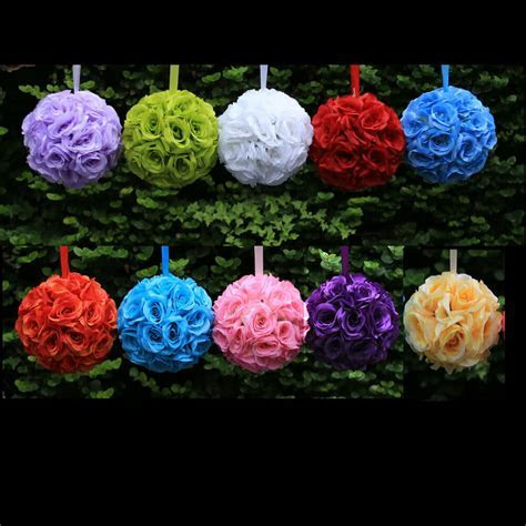 "9"" Kissing Ball Rose Flowers Pomander Pew Bow Wedding"